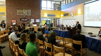 Attendees at the announcement of the SME, MMA and Fraser H.S. announcement.